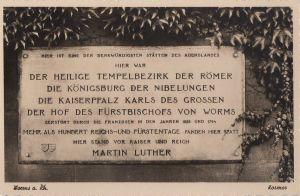 Postkarte: Worms - Gedenktafel Reichstage - 1938