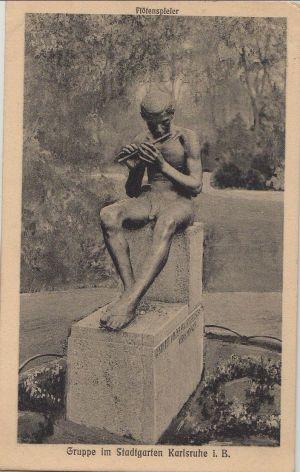 Postkarte: Karlsruhe - Stadtgarten, FlÃtenspieler - 1912