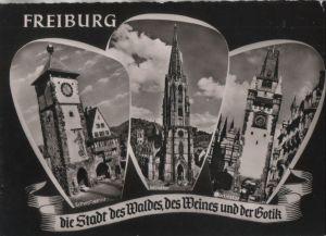 Postkarte: Freiburg - u.a. Martinstor - 1962