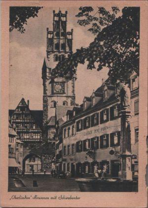Postkarte: Freiburg - Oberlinden-Brunnen - ca. 1950