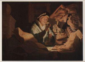 Postkarte: Staatliche Museen, Berlin - Rembrandt - Geldwechsler - ca. 1985