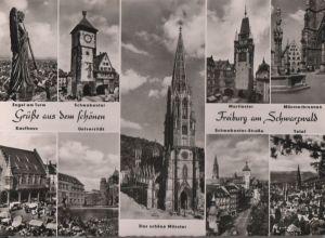 Postkarte: Freiburg - u.a. Kaufhaus - ca. 1965