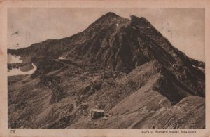 Postkarte: Ãsterreich - Innsbrucker HÃtte - mit Habicht - 1927