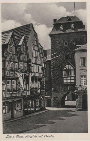 Postkarte: Linz - Burgplatz mit Rheintor - ca. 1955