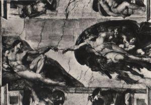 Postkarte: Vatikan - Vatikanstadt - Capella Sistina - creazione dell uomo - ca. 1960