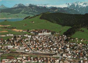 Postkarte: Schweiz - Einsiedeln - Kloster, Sihlsee und Glarner Alpen - 1973