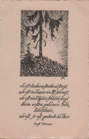 Postkarte: Gedicht Ernst Thieme